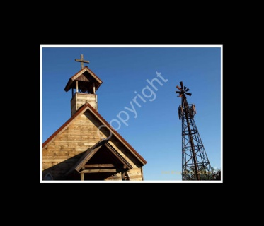 Higher Power Print Wooded Church & Windmill